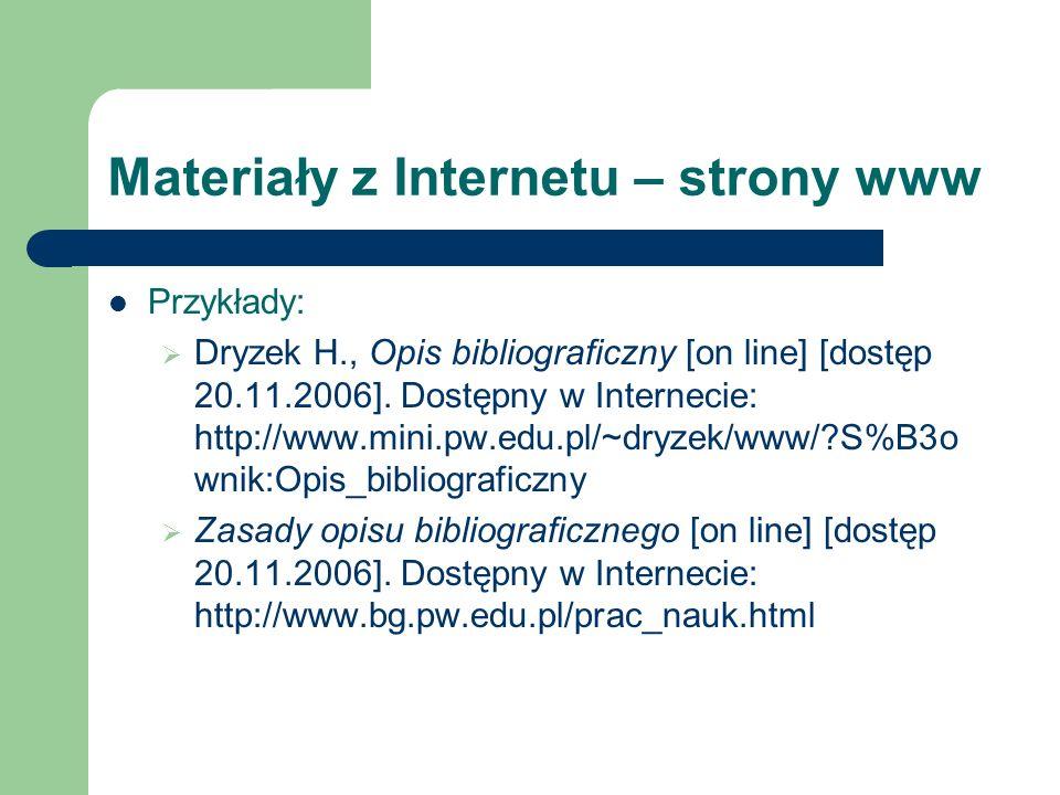 Materiały z Internetu – strony www