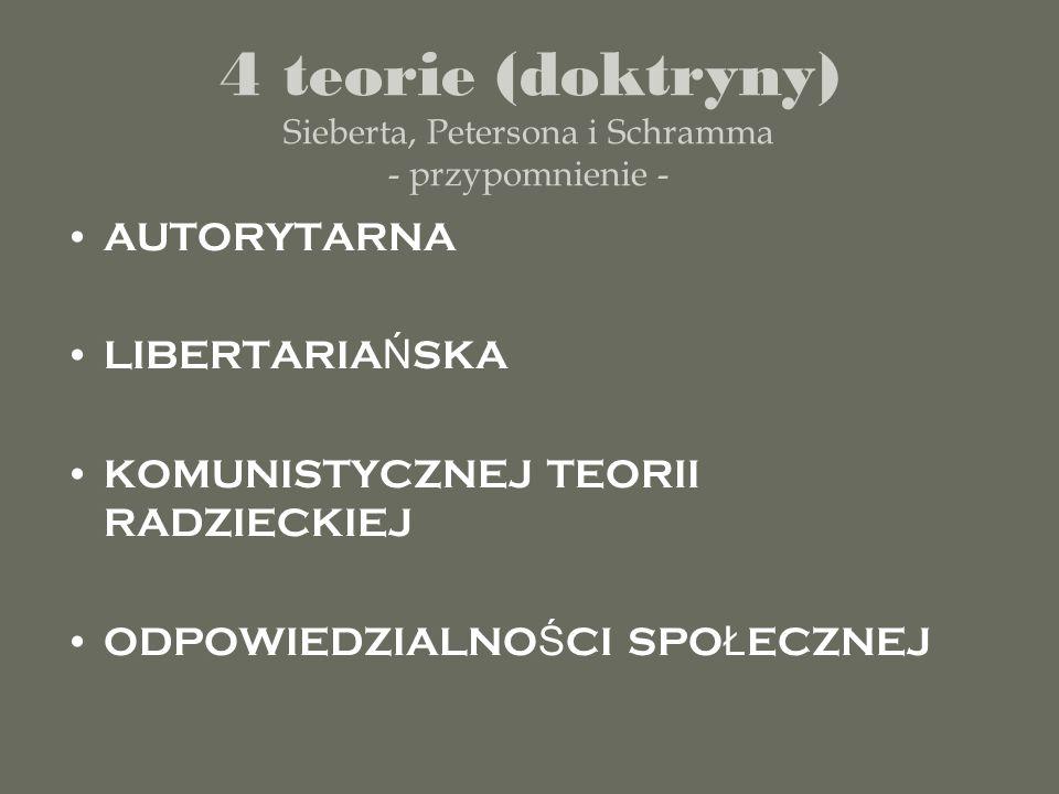 4 teorie (doktryny) Sieberta, Petersona i Schramma - przypomnienie -