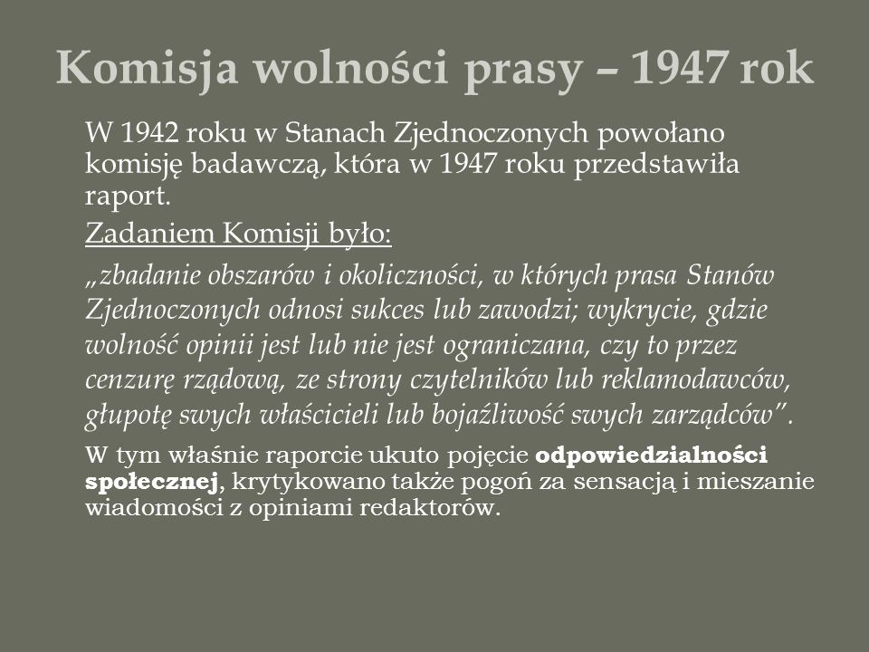 Komisja wolności prasy – 1947 rok