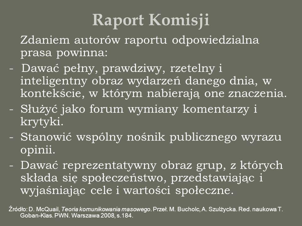 Raport Komisji Zdaniem autorów raportu odpowiedzialna prasa powinna: