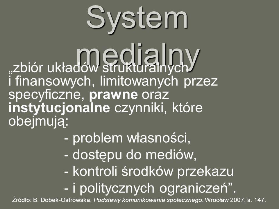 """System medialny """"zbiór układów strukturalnych i finansowych, limitowanych przez specyficzne, prawne oraz instytucjonalne czynniki, które obejmują:"""
