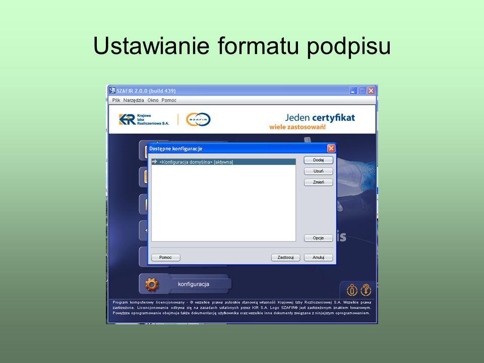 Ustawianie formatu podpisu