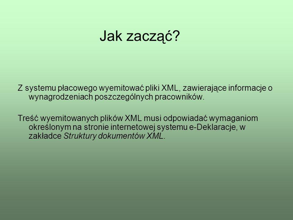 Jak zacząć Z systemu płacowego wyemitować pliki XML, zawierające informacje o wynagrodzeniach poszczególnych pracowników.