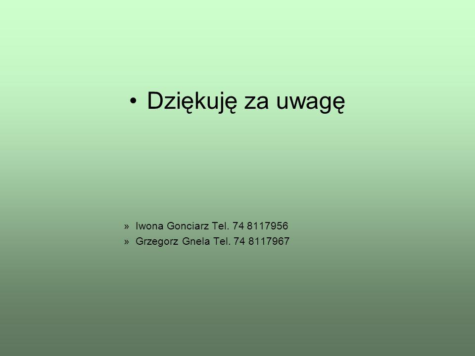 Dziękuję za uwagę Iwona Gonciarz Tel. 74 8117956