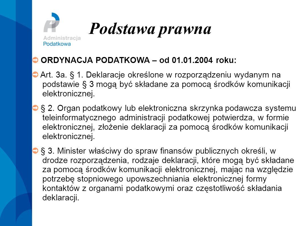 Podstawa prawna ➲ ORDYNACJA PODATKOWA – od 01.01.2004 roku: