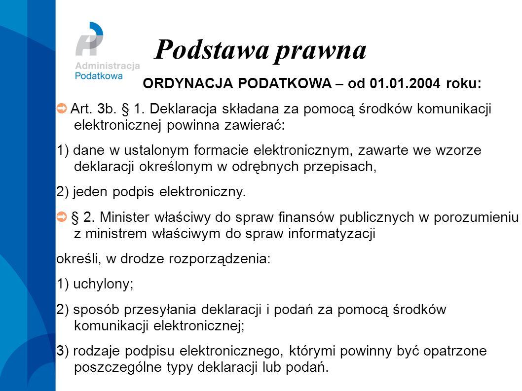 Podstawa prawna ORDYNACJA PODATKOWA – od 01.01.2004 roku: