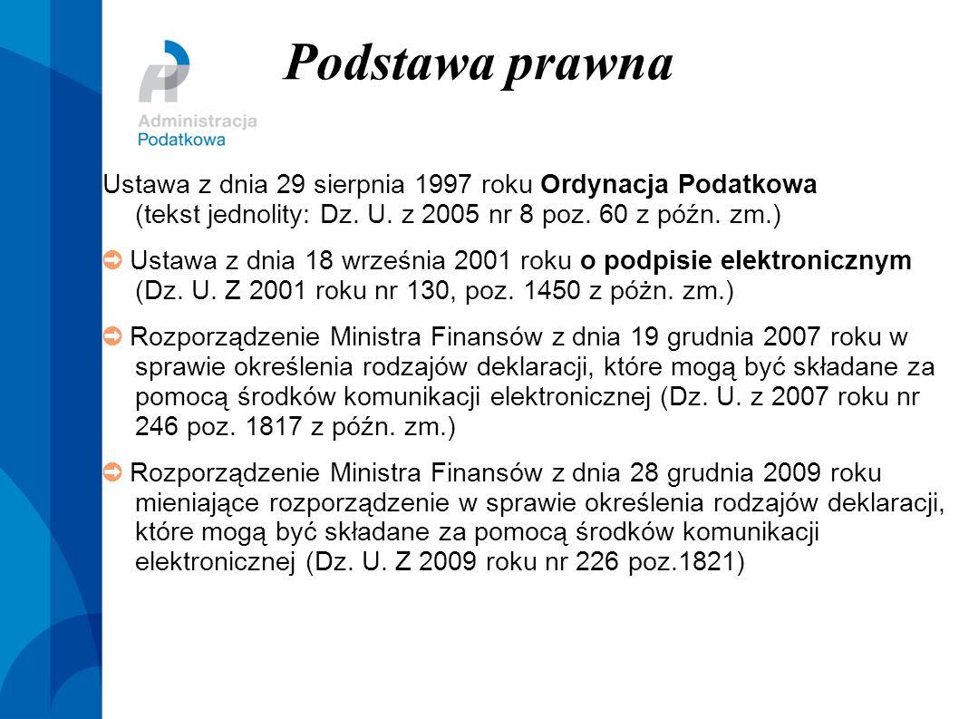Podstawa prawna Ustawa z dnia 29 sierpnia 1997 roku Ordynacja Podatkowa (tekst jednolity: Dz. U. z 2005 nr 8 poz. 60 z późn. zm.)