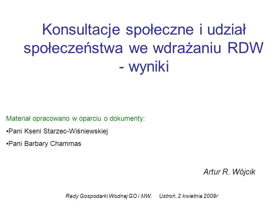 Konsultacje społeczne i udział społeczeństwa we wdrażaniu RDW - wyniki