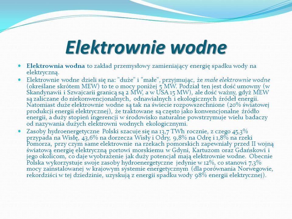 Elektrownie wodneElektrownia wodna to zakład przemysłowy zamieniający energię spadku wody na elektryczną.