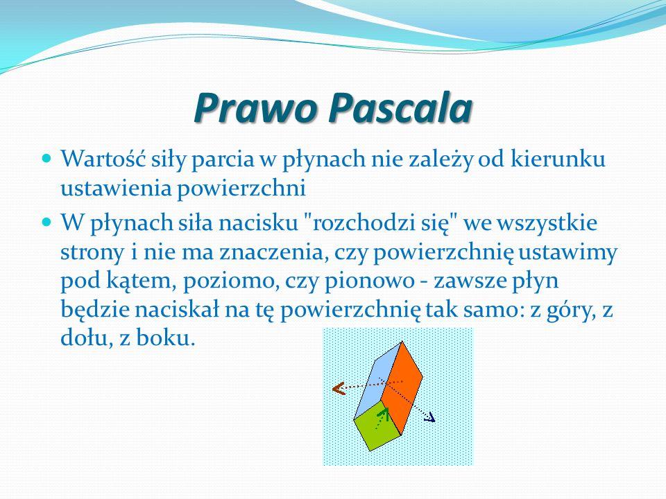 Prawo PascalaWartość siły parcia w płynach nie zależy od kierunku ustawienia powierzchni.