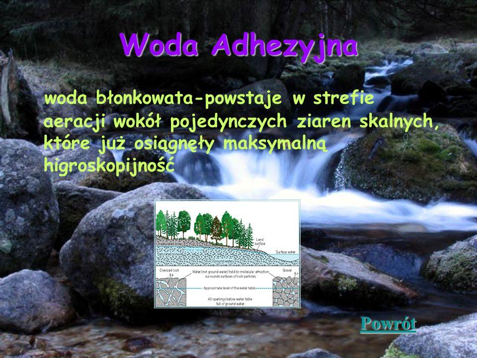 Woda Adhezyjna woda błonkowata-powstaje w strefie aeracji wokół pojedynczych ziaren skalnych, które już osiągnęły maksymalną higroskopijność.