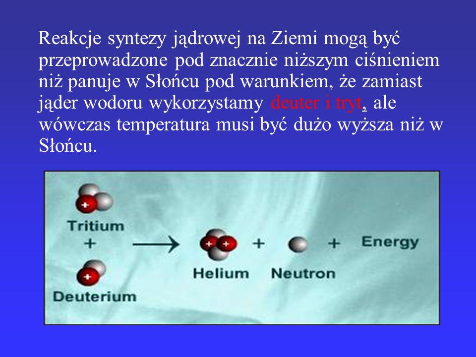 Reakcje syntezy jądrowej na Ziemi mogą być przeprowadzone pod znacznie niższym ciśnieniem niż panuje w Słońcu pod warunkiem, że zamiast jąder wodoru wykorzystamy deuter i tryt, ale wówczas temperatura musi być dużo wyższa niż w Słońcu.