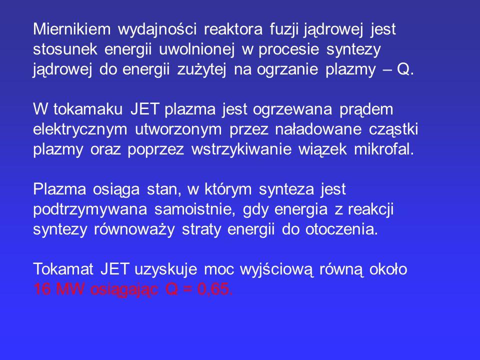 Miernikiem wydajności reaktora fuzji jądrowej jest stosunek energii uwolnionej w procesie syntezy jądrowej do energii zużytej na ogrzanie plazmy – Q.