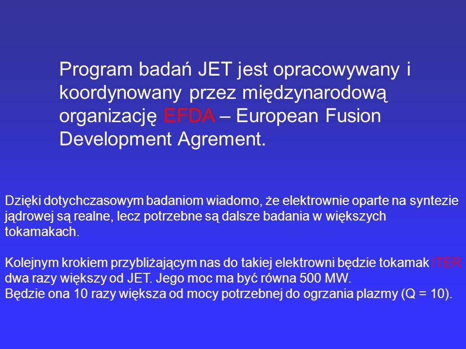 Program badań JET jest opracowywany i koordynowany przez międzynarodową organizację EFDA – European Fusion Development Agrement.