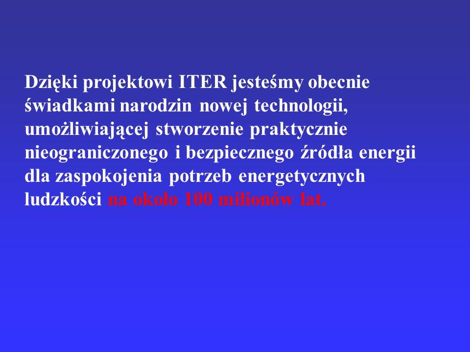 Dzięki projektowi ITER jesteśmy obecnie świadkami narodzin nowej technologii, umożliwiającej stworzenie praktycznie nieograniczonego i bezpiecznego źródła energii dla zaspokojenia potrzeb energetycznych ludzkości na około 100 milionów lat.