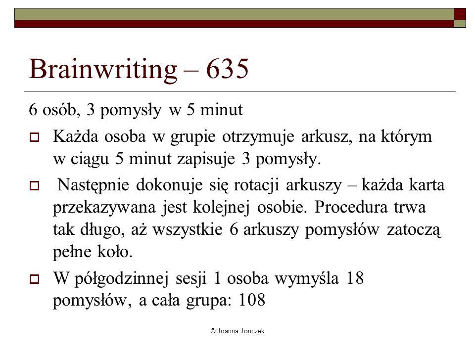 Brainwriting – 635 6 osób, 3 pomysły w 5 minut