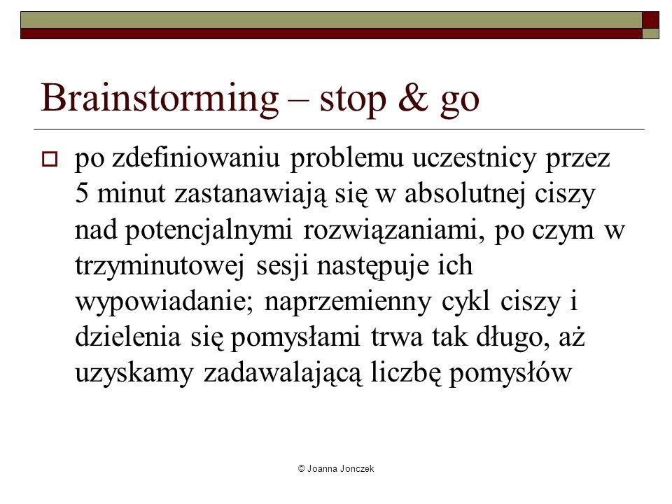 Brainstorming – stop & go