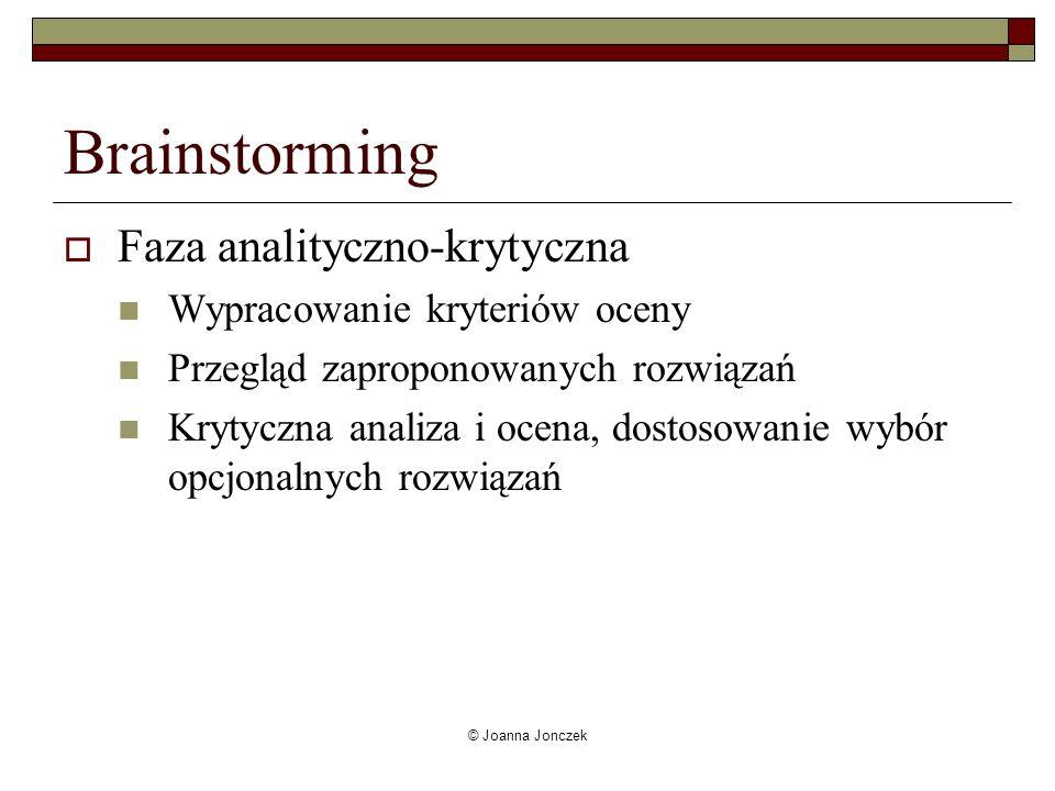 Brainstorming Faza analityczno-krytyczna Wypracowanie kryteriów oceny