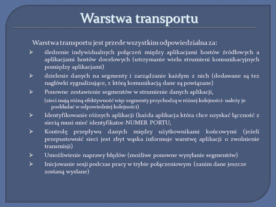 Warstwa transportu Warstwa transportu jest przede wszystkim odpowiedzialna za: