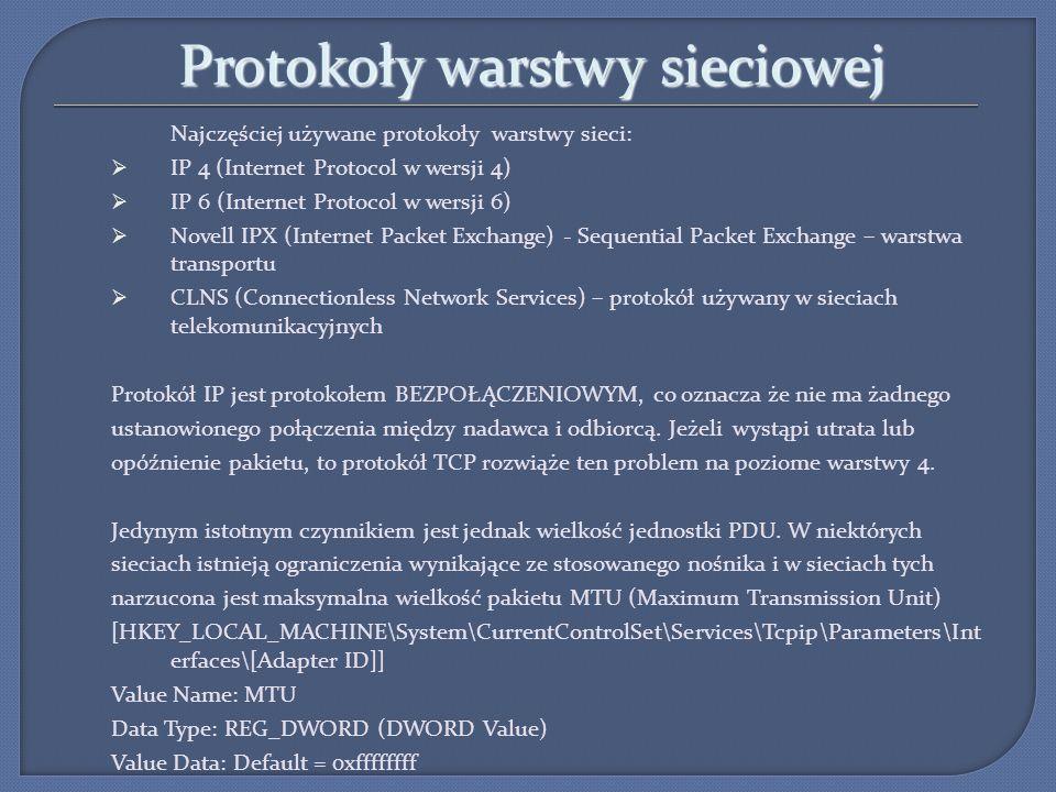 Protokoły warstwy sieciowej