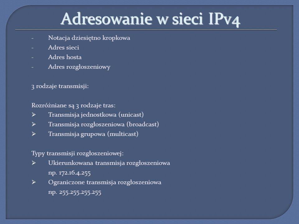 Adresowanie w sieci IPv4