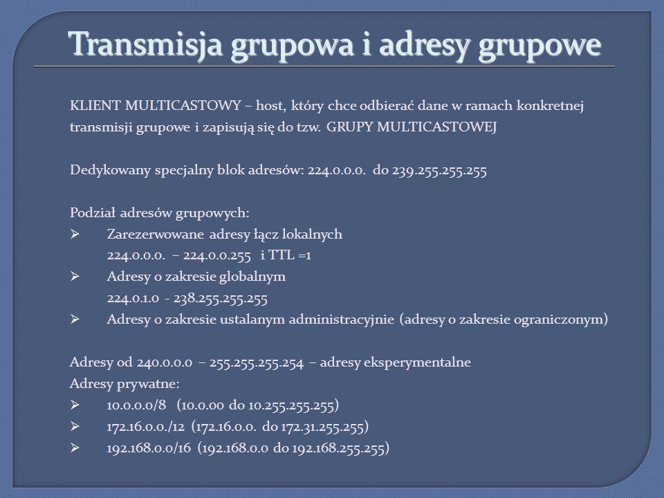 Transmisja grupowa i adresy grupowe