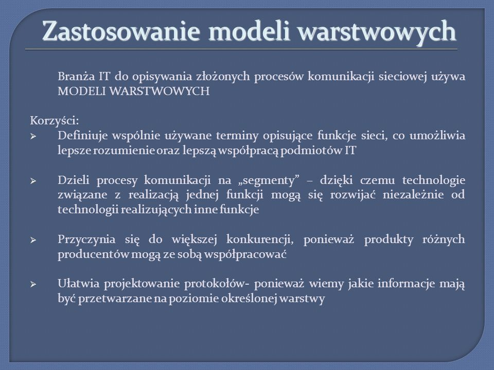 Zastosowanie modeli warstwowych
