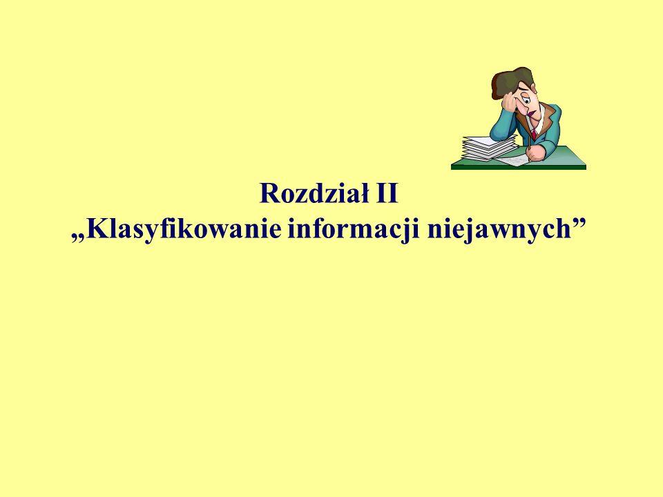 """Rozdział II """"Klasyfikowanie informacji niejawnych"""