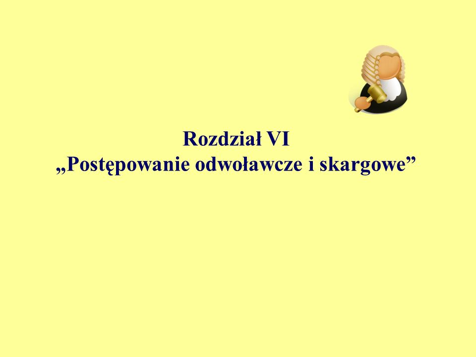 """Rozdział VI """"Postępowanie odwoławcze i skargowe"""