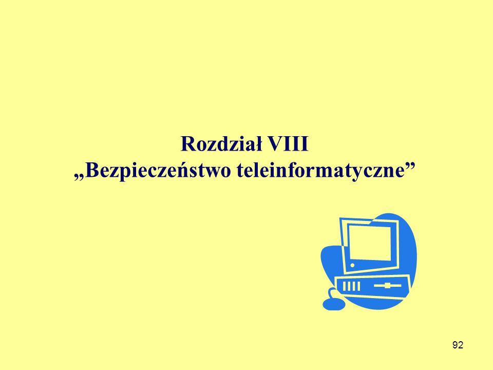 """Rozdział VIII """"Bezpieczeństwo teleinformatyczne"""
