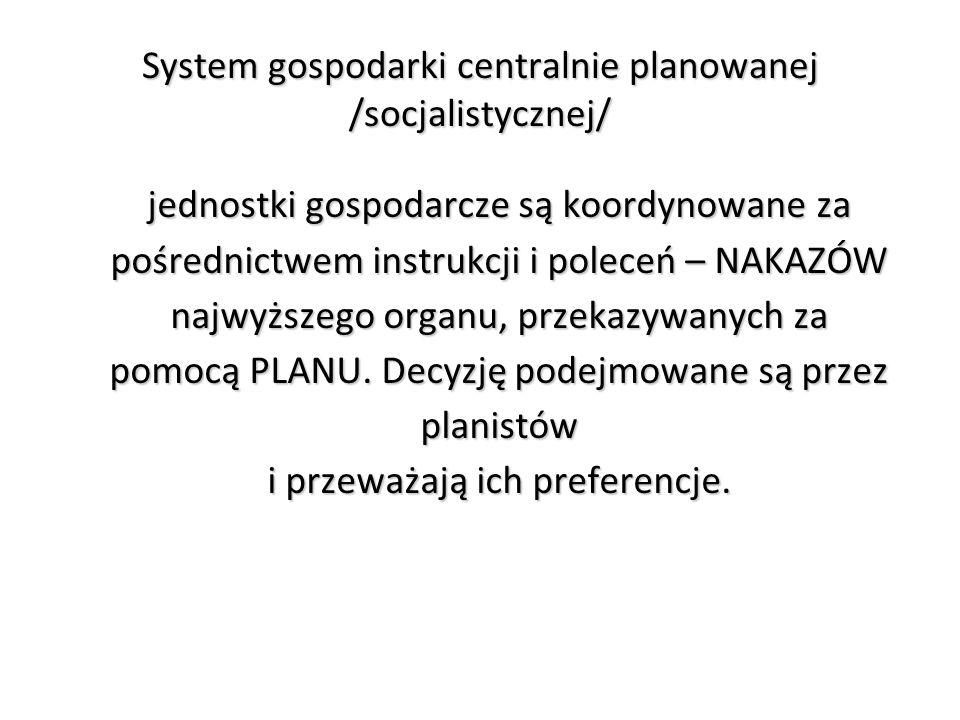 System gospodarki centralnie planowanej /socjalistycznej/