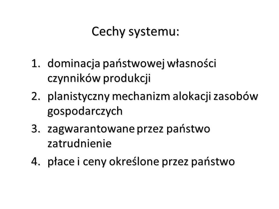 Cechy systemu: dominacja państwowej własności czynników produkcji
