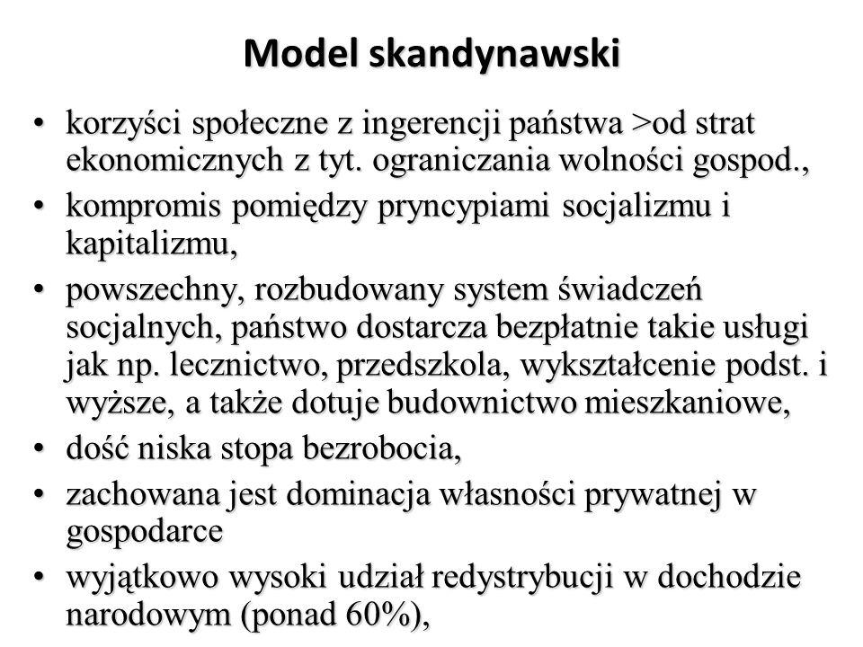 Model skandynawski korzyści społeczne z ingerencji państwa >od strat ekonomicznych z tyt. ograniczania wolności gospod.,