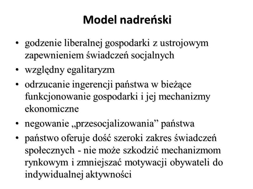 Model nadreński godzenie liberalnej gospodarki z ustrojowym zapewnieniem świadczeń socjalnych. względny egalitaryzm.