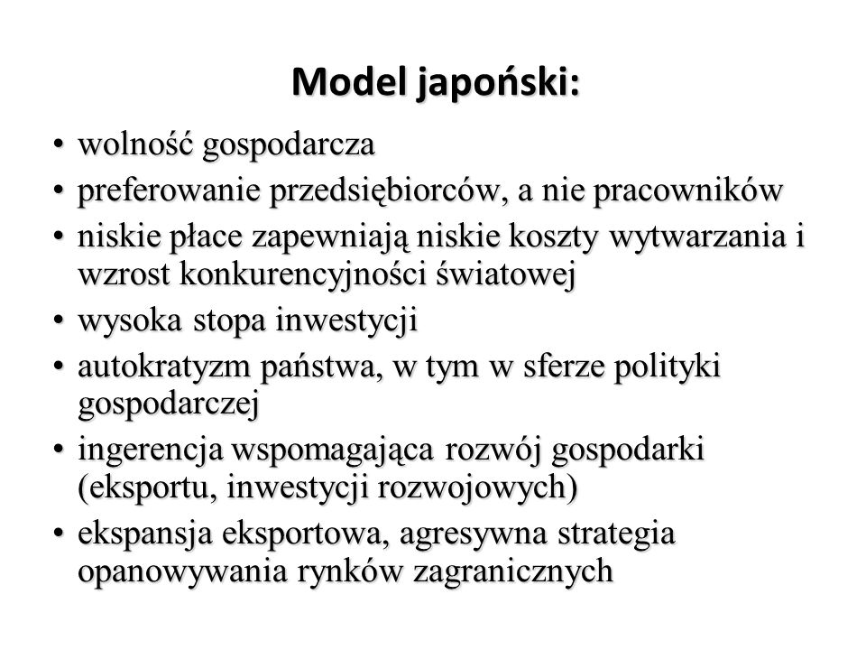 Model japoński: wolność gospodarcza