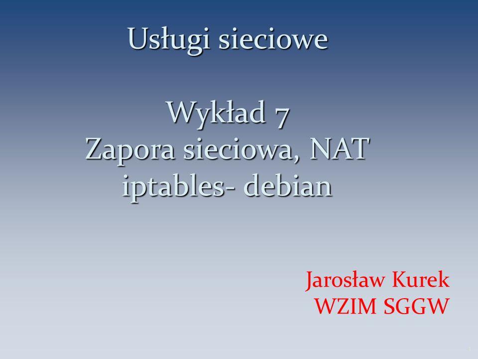 Usługi sieciowe Wykład 7 Zapora sieciowa, NAT iptables- debian