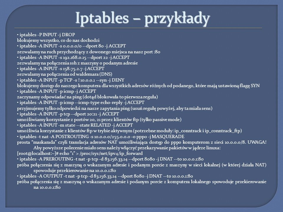 Iptables – przykłady