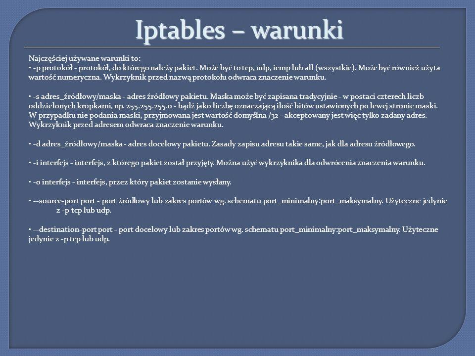 Iptables – warunki