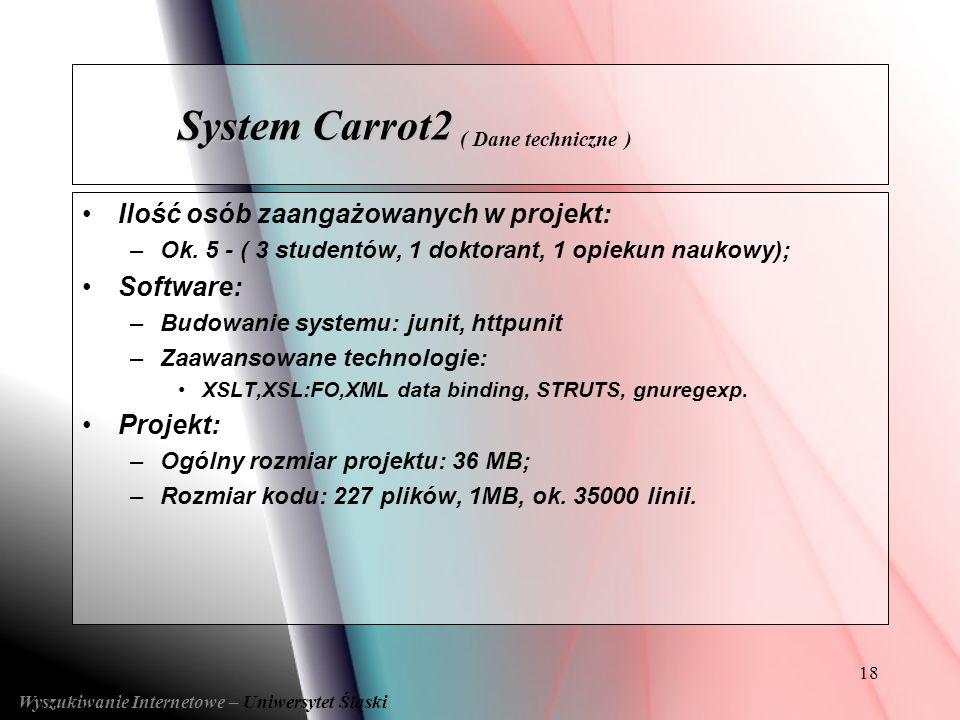 System Carrot2 ( Dane techniczne )