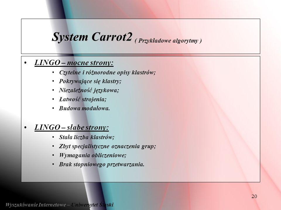 System Carrot2 ( Przykładowe algorytmy )