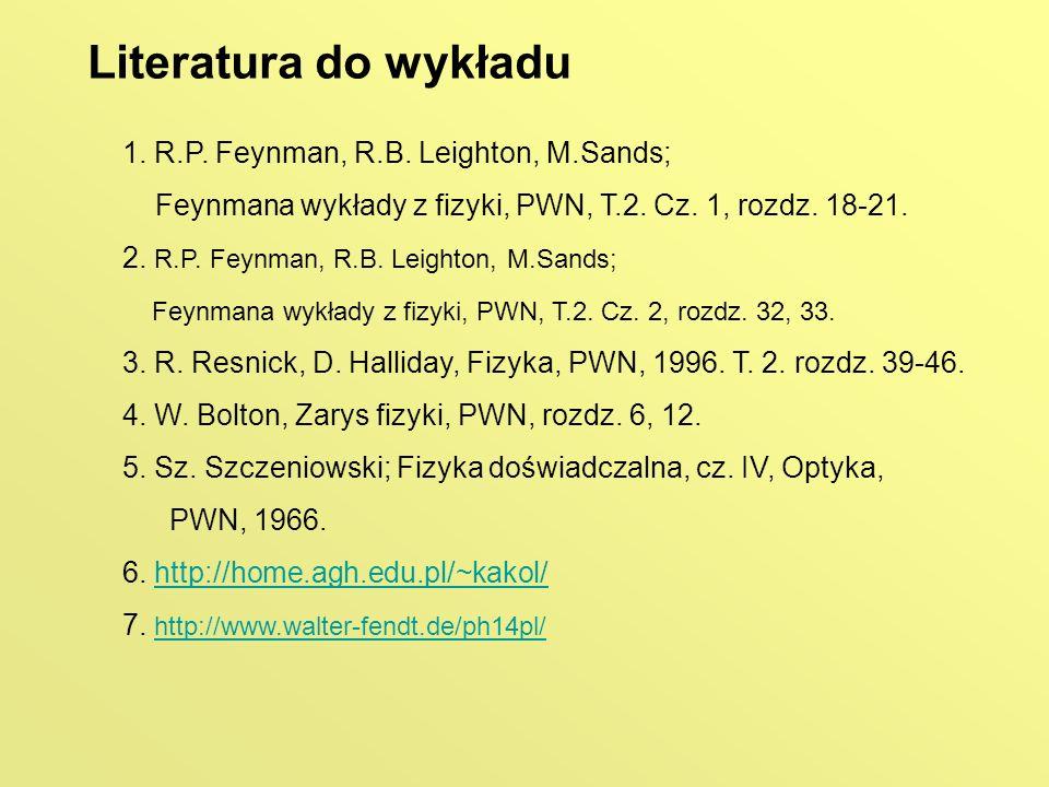 Literatura do wykładu 1. R.P. Feynman, R.B. Leighton, M.Sands;