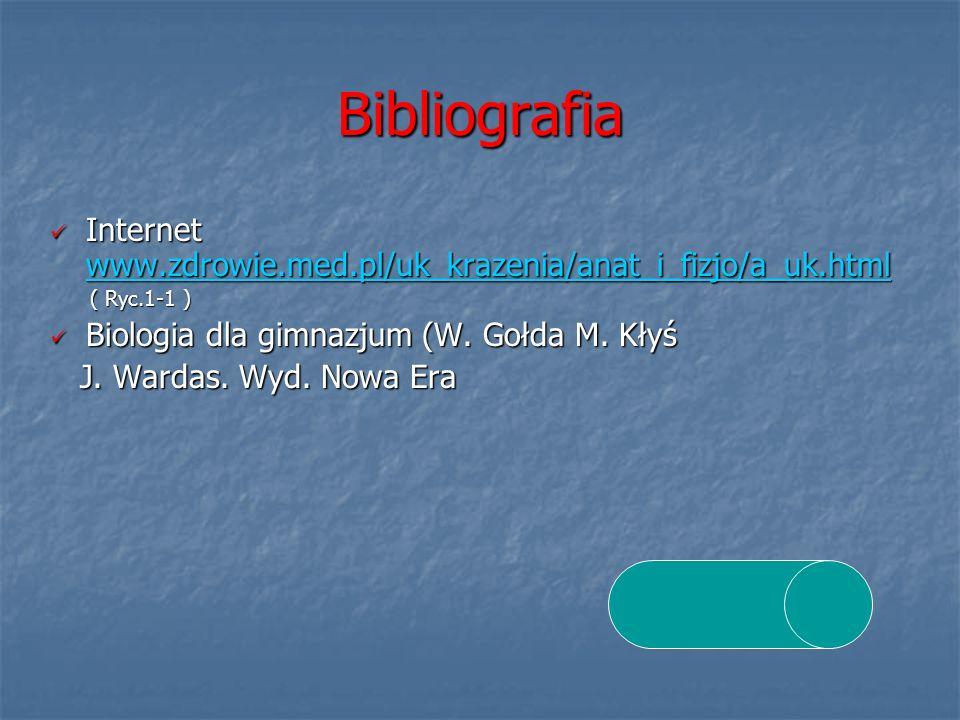BibliografiaInternet www.zdrowie.med.pl/uk_krazenia/anat_i_fizjo/a_uk.html. ( Ryc.1-1 ) Biologia dla gimnazjum (W. Gołda M. Kłyś.