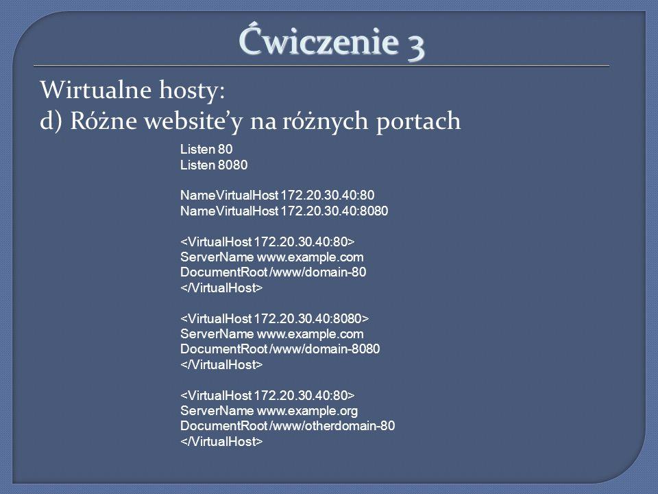 Ćwiczenie 3 Wirtualne hosty: d) Różne website'y na różnych portach
