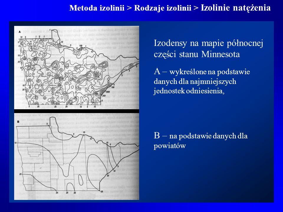 Izodensy na mapie północnej części stanu Minnesota