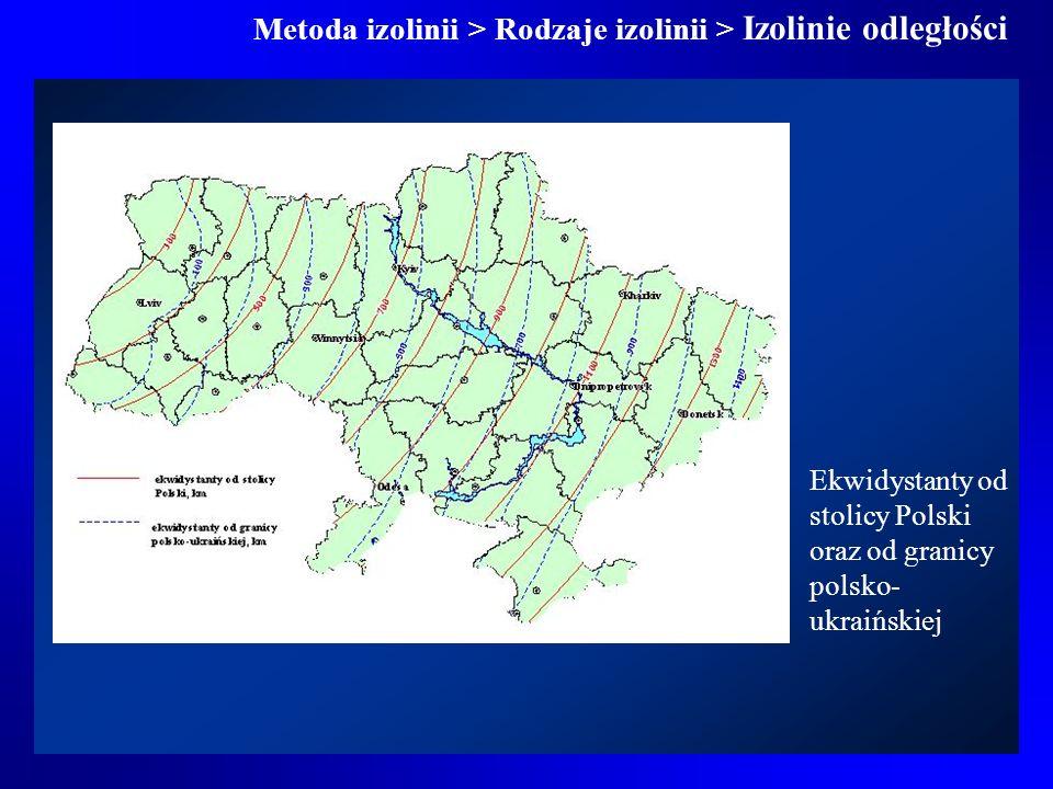 Metoda izolinii > Rodzaje izolinii > Izolinie odległości