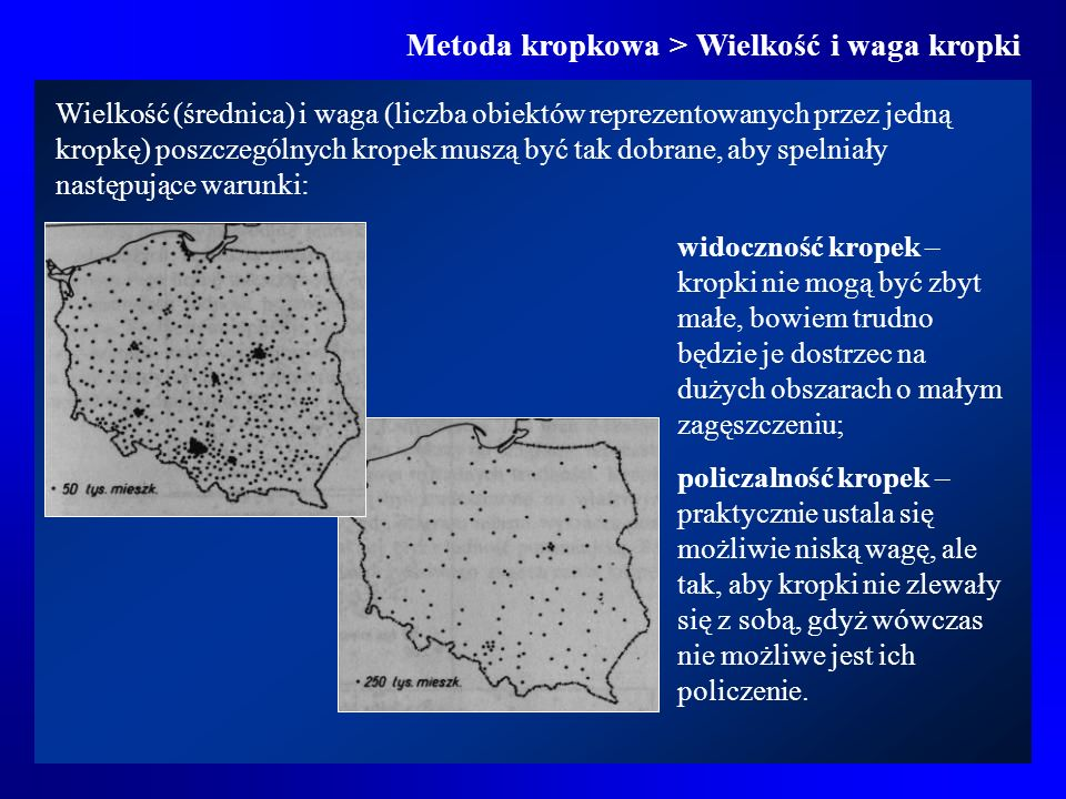 Metoda kropkowa > Wielkość i waga kropki