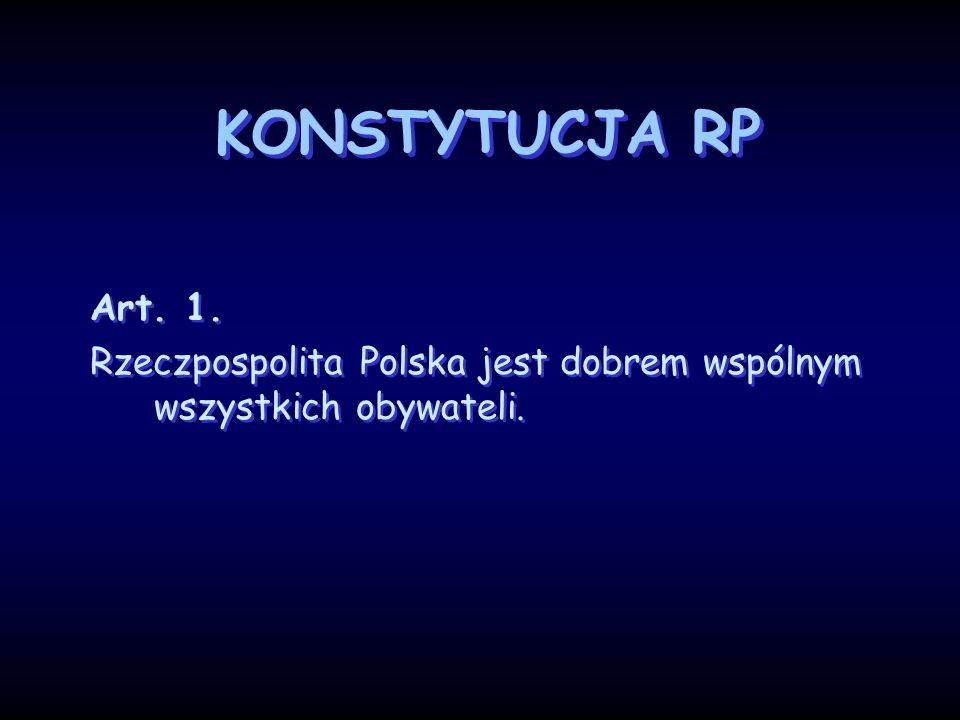 KONSTYTUCJA RP Art. 1. Rzeczpospolita Polska jest dobrem wspólnym wszystkich obywateli.