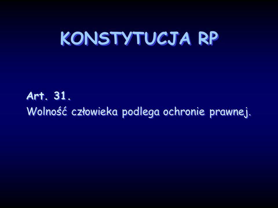 KONSTYTUCJA RP Art. 31. Wolność człowieka podlega ochronie prawnej.