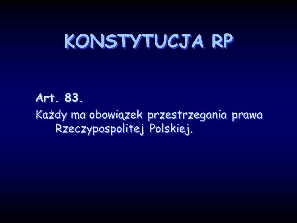 KONSTYTUCJA RP Art. 83. Każdy ma obowiązek przestrzegania prawa Rzeczypospolitej Polskiej.