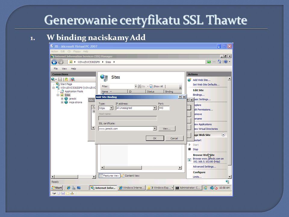 Generowanie certyfikatu SSL Thawte